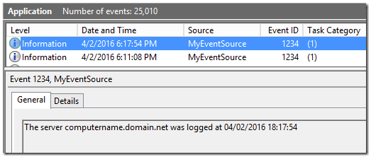 Writing events with parameters using PowerShell - Kevin