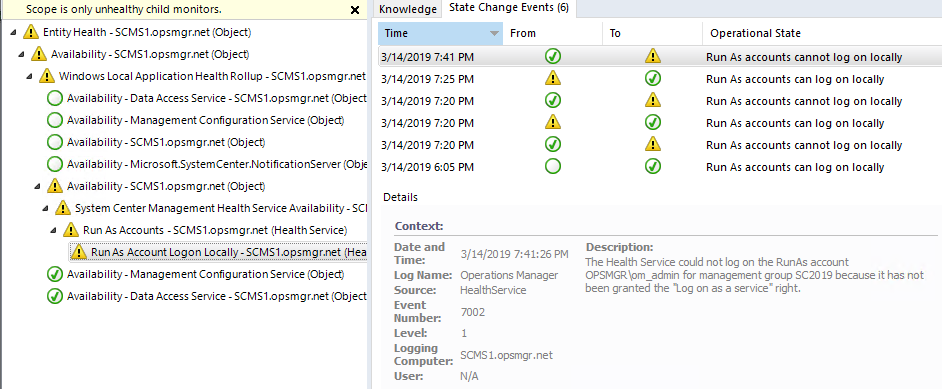 Security changes in SCOM 2019 – Log on as a Service - Kevin Holman's